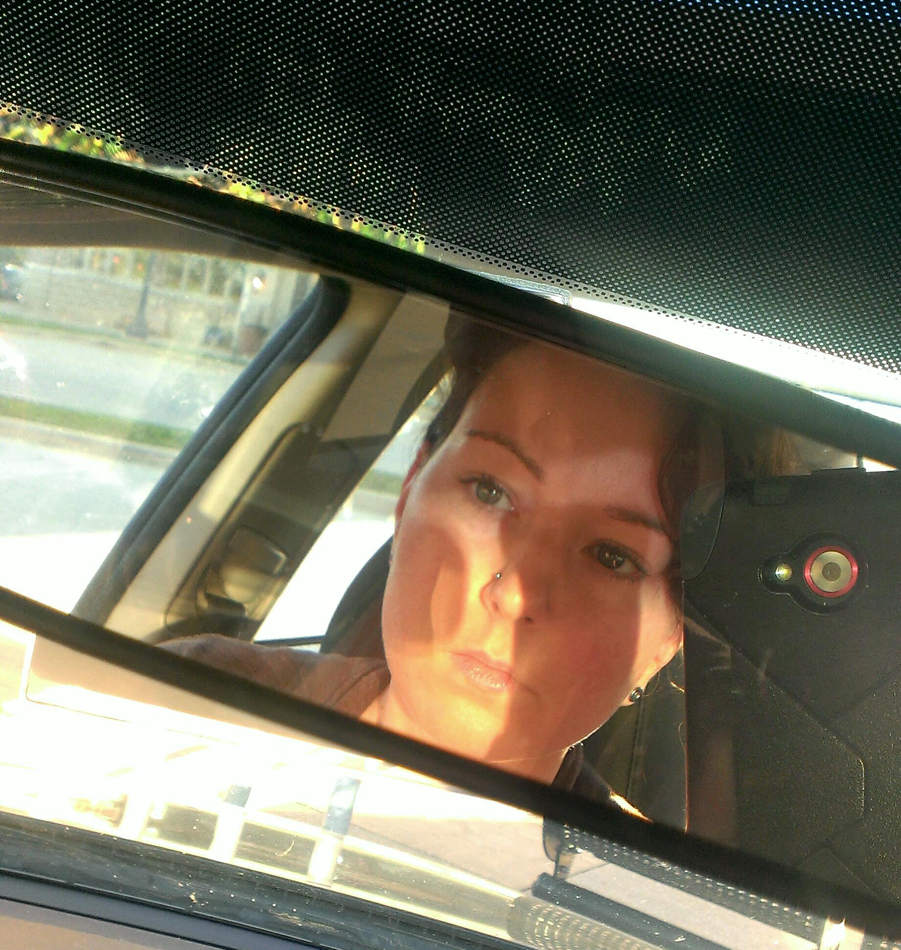 pensive rearview selfie